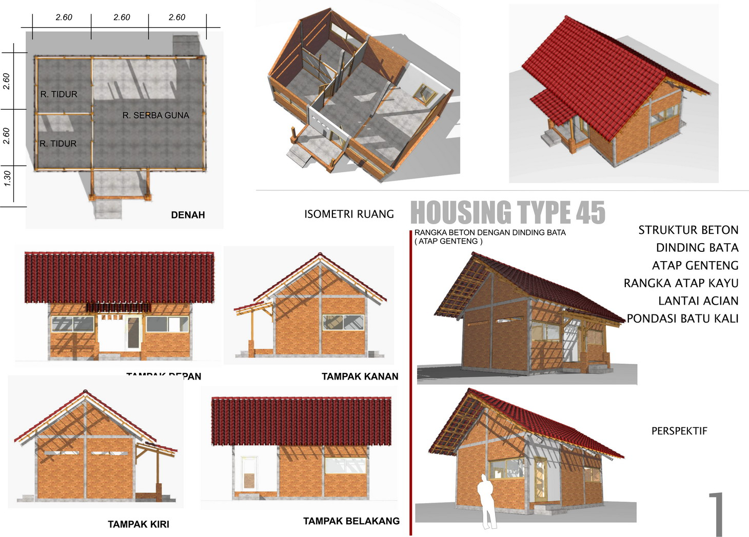 Berikut ada gambar rumah tahan gempa desain IAI Yogya.